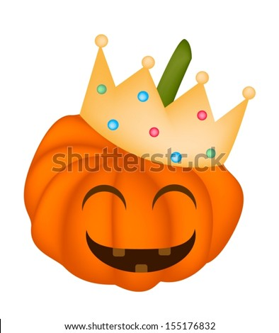 Jack-o-Lantern Pumpkin Wearing A Golden Crown Isolated on White Background, For Halloween Celebration  - stock vector