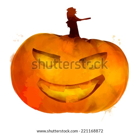 Jack o lantern pumpkin with scary face illustration - stock vector