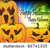Jack O lanterns on a sparkling background - stock vector