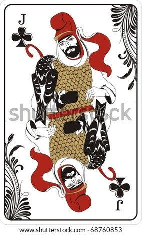 Jack of clubs from deck of playing cards, rest of deck available. - stock vector