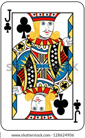 Jack of Clubs playing card - stock vector