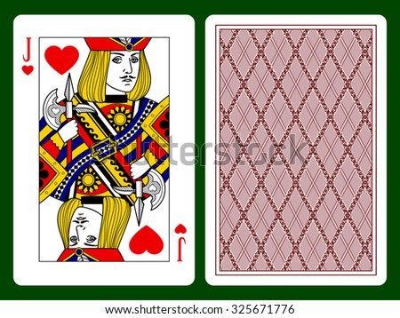 Jack of hearts playing card and backside background. Faces double sized. Original design. Vector illustration - stock vector