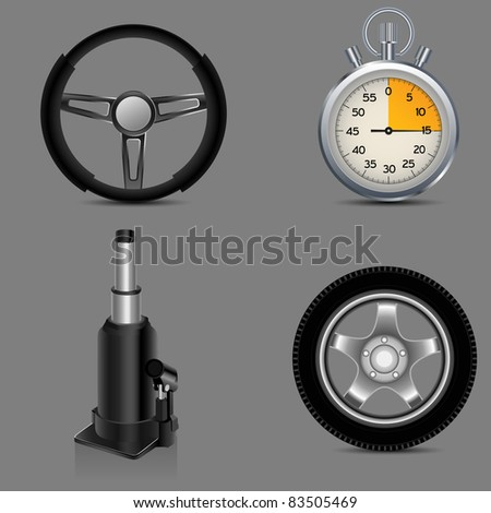 jack, steering wheel, car wheel and stop watch - stock vector