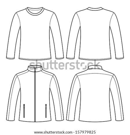 Jacket longsleeved tshirt isolated on white for Long sleeve t shirt template illustrator