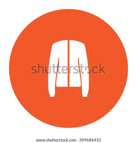 Jacket. Flat white symbol in the orange circle. Vector illustration icon - stock vector