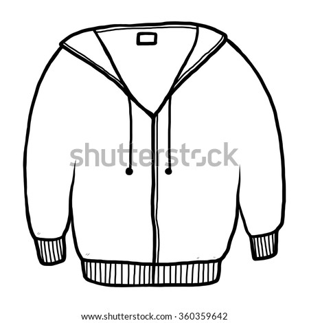 jacket or sweater / cartoon vector and illustration, black and white, hand drawn, sketch style, isolated on white background. - stock vector