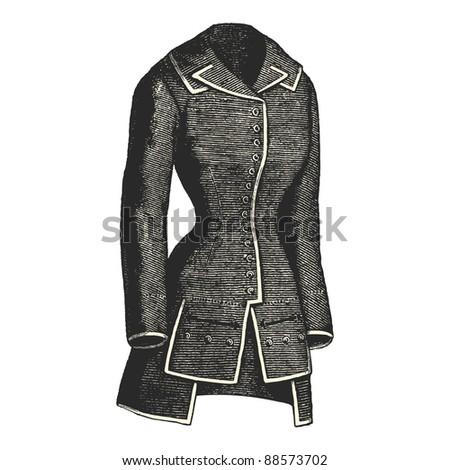 "Jacket - Vintage engraved illustration - ""La mode illustree"" by Firmin-Didot et Cie in 1882 France - stock vector"