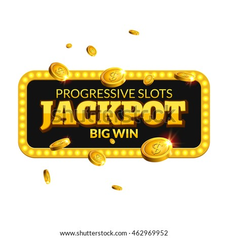 Jackpot casino lotto label background sign. Casino jackpot coins money gamble winner text shining symbol isolated on white.