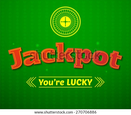 Jackpot logo, casino typography design, game vector illustration on green background