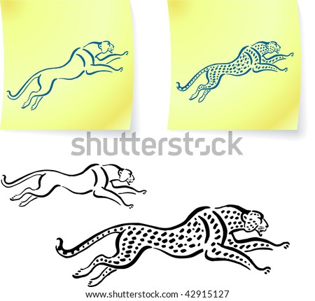 jaguar and leopard drawings on post it notes original vector illustration 6 color versions included