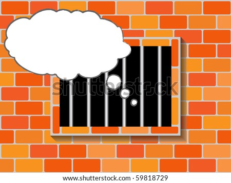 jail window - stock vector