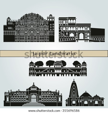 Jaipur landmarks and monuments isolated on blue background in editable vector file