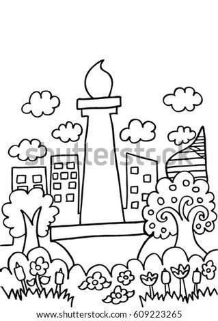 Jakarta Sketch Doodle Stock Vector 609223265