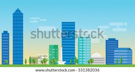 jakarta indonesia city skyline vector illustration landscape architecture capital landmark panoramicmonas istiqlal - stock vector