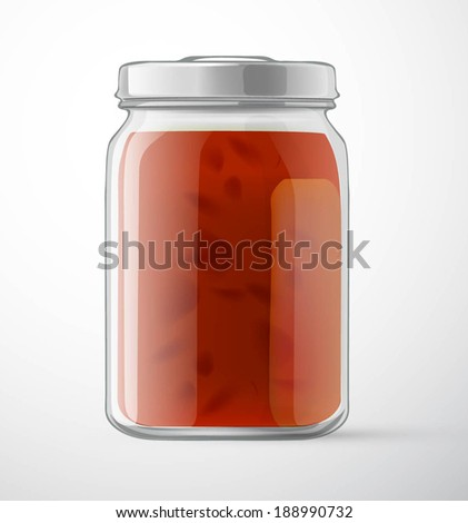 jam in a glass jar for new design - stock vector