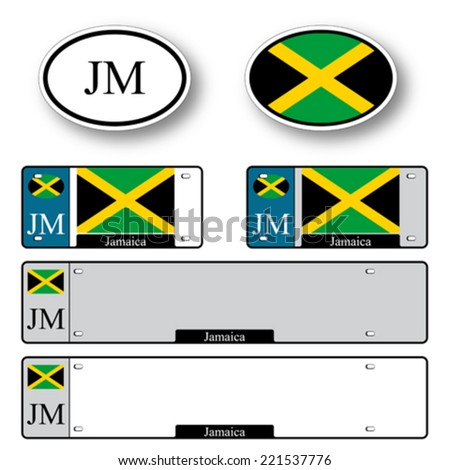 jamaica auto set against white background, abstract vector art illustration, image contains transparency - stock vector