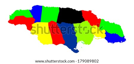 Jamaica high detailed vector map isolated on white background. Colorful separated regions illustration. - stock vector
