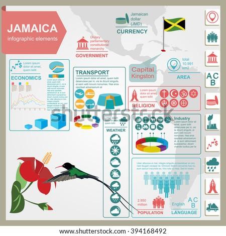 Jamaica infographics, statistical data, sights. Vector illustration - stock vector