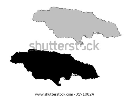 Jamaica map. Black and white. Mercator projection. - stock vector