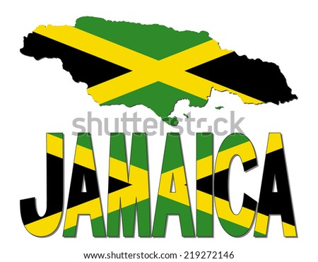 Jamaica map flag and text vector illustration