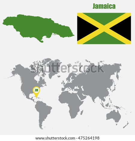 jamaica map on a world map with flag and map pointer vector illustration