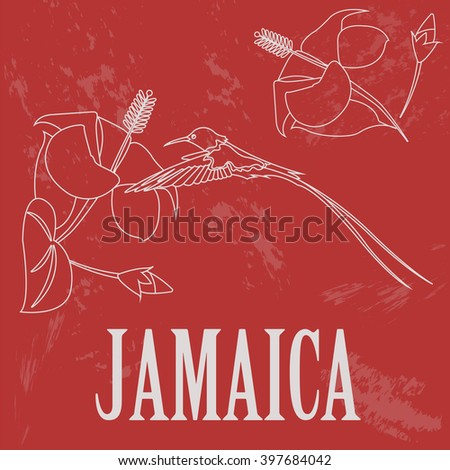 Jamaica national symbol. Outline version. Retro styled image. Vector illustration - stock vector