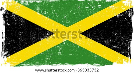 Jamaica vector grunge flag isolated on white background. - stock vector