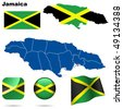 Jamaica vector set. Detailed country shape with region borders, flags and icons isolated on white background. - stock photo
