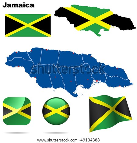 Jamaica vector set. Detailed country shape with region borders, flags and icons isolated on white background.