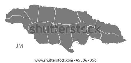 Jamaica Map Stock Images RoyaltyFree Images Vectors Shutterstock - Map of jamaica showing parishes