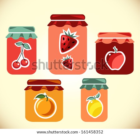 Jams vector collection. Strawberry jam.  Cherry jam. Set of different confitures. Isolated pots of jam. Jam jar - stock vector