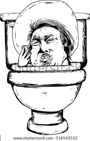 Outline caricature of furious Donald Trump stuck in a toiletSingle Hand Drawn Outlined Toilet Open Stock Vector 558152104  . Toilet Drawing. Home Design Ideas