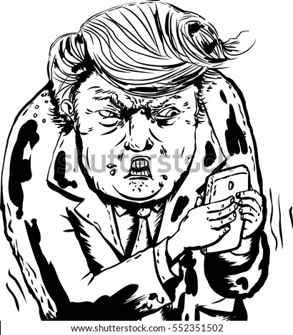 Jan. 9, 2017. Outlined caricature of an angry Donald Trump sending text messages