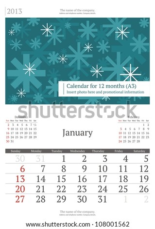 January. 2013 calendar. - stock vector