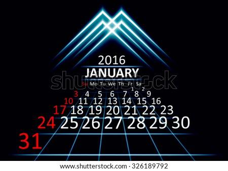 January 2016 calendar dark technology 3d style abstract background. Vector Illustration. - stock vector