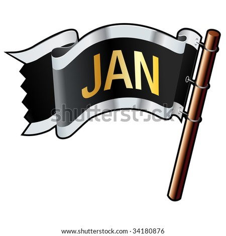 January calendar month icon on black, silver, and gold vector flag good for use on websites, in print, or on promotional materials