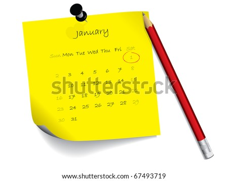 January calendar on notepad