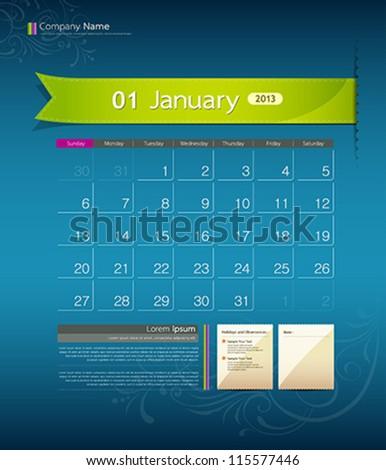 January 2013 calendar ribbon design, vector illustration - stock vector