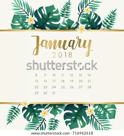 January 2018 Calendar Template Exotic Tropical Stock ...