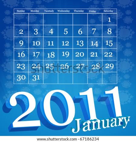 January 2011 Calendar Vector - stock vector