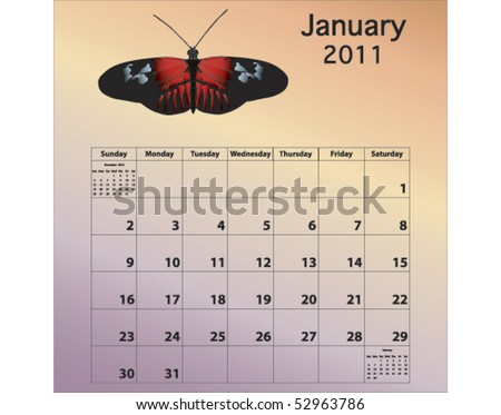 January 2011 calendar with butterfly - stock vector