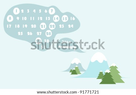 january 2012 colorful calendar illustration with winter landscape - stock vector