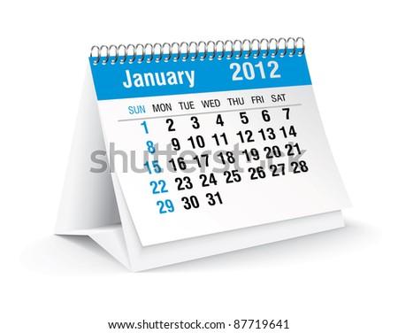 january 2012 desk calendar - stock vector