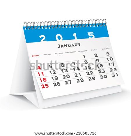 January 2015 desk calendar - vector illustration - stock vector