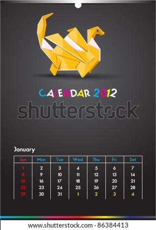 January 2012 Dragon Calendar Template - stock vector