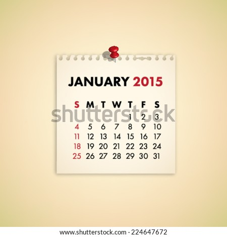 January 2015 Note Paper Calendar Vector - stock vector