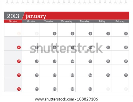 january 2013-planning calendar - stock vector