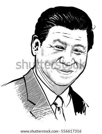 January 15, 2017: Portrait of president of the China Xi Jinping.  Vector illustration .eps10. Editorial use only