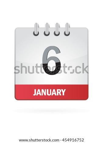 January Six. Calendar Icon - stock vector