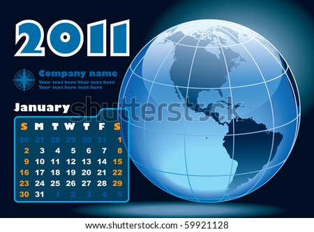 January - the Earth blue calendar for 2011, weeks starts on Sunday